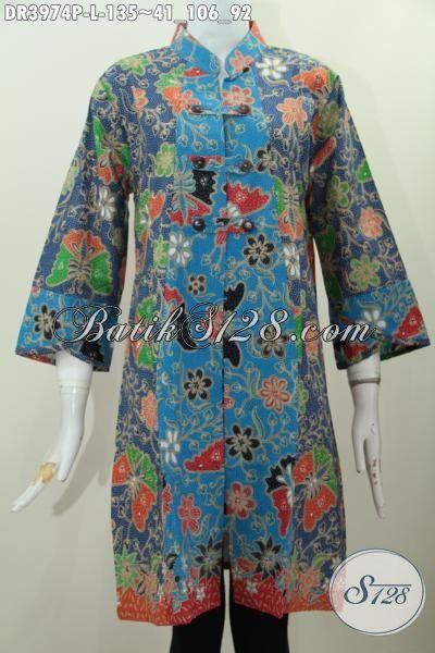 Baju Kerja Wanita Model Kerah Shanghai, Pakaian Batik Santai Desain