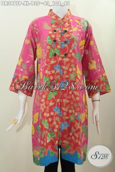 Busana Batik Wanita Warna Pink Bermotif Bunga Bikin Penampilan Lebih Feminim, Baju Dress Kerah Shanghai Proses Tulis Harga Terjangaku, Ukuran XL Buat Wanita Dewasa