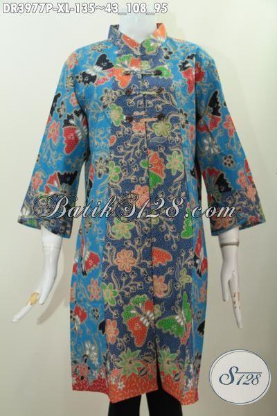 Baju Dress Wanita Dewasa Ukuran XL, Busana Berkelas Motif Bunga Proses Printing Cocok Buat jalan-Jalan Dan Pesta