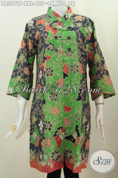 Busana Trendy Model Kerah Shanghai Buatan Solo, Baju Dress Batik Ukuran Jumbo Variasi Kancing Depan Proses Printing Wanita Gemuk Lebih Terlihat Modis Dan Langsing, Size XXL