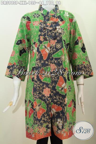 Produk Busana Batik Jumbo Esklusif Perempuan Gemuk, Baju Dress Istimewa Model Kerah Shanghai Ukuran 3L Motif Keren Proses Printing [DR3980-XXL]