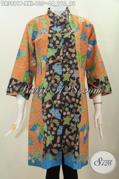 Dress Batik Jawa Tengah Berbahan Halus Kerah Shanghai Istimewa, Pakaian Batik Print Size Jumbo Untuk Perempuan Gemuk Buat Hangouts Dan Pesta, Size XXL