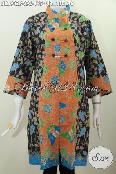 Tempat Upgrade Fashion Batik, Jual Online Dress Batik Kerah Shanghai Proses Printing Motif Bagus, Tersedia Ukuran XXL Buat Wanita Gemuk