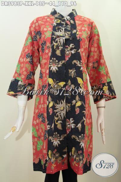 Dress Modis Bahan Batik Motif Paling Baru Yang Fashionable, Baju Batik Kerah Shanghai Ukuran 3L Spesial Untuk Cewek Berbadan Gemuk, Size XXL