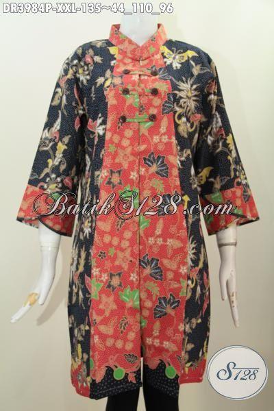 Jual Baju Dress Jumbo Kwalitas Bagus Harga Terjangkau, Busana Batik Solo Model Kerah Shanghai Modis Untuk Pesta Dan Jalan-Jalan Ukuran XXL