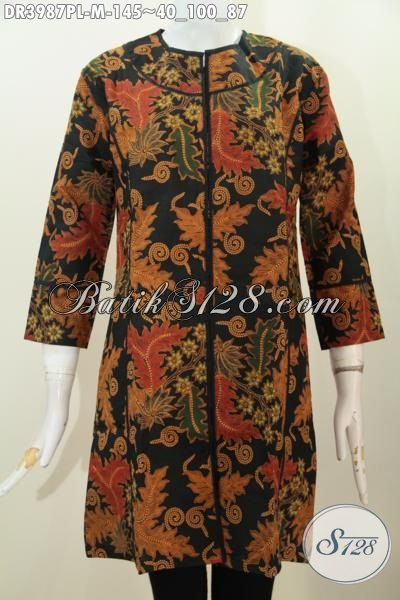 Dress Batik Modern Tanpa Kerah Dengan Desain Berkelas Yang membuat Wanita Makin Anggun, Baju Batik Printing Warna Klasik Buatan Solo kwalitas Mewah Harga Murah, Size M
