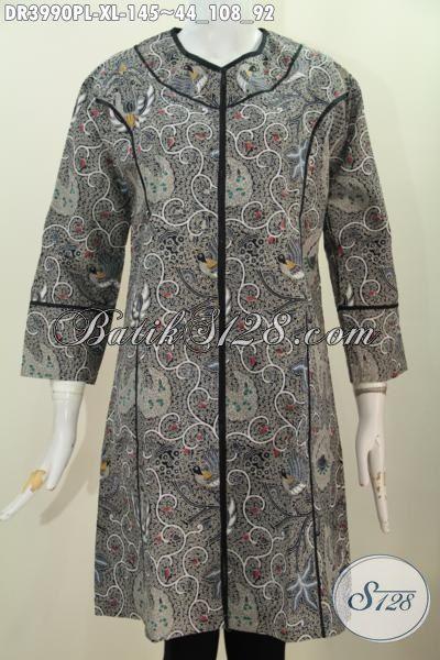 Dress Batik Abu-Abu Dengan Motif Mewah, Baju Dress Batik Printing  Desain Berkelas Spesial Untuk Peempuan Dewasa Tampil Makin Percaya Diri, Size XL