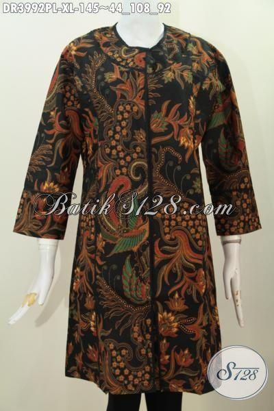 Batik Dress Modern Dengan Nuansa Klasik Nan Mewah, Produk Batik Wanita Terbaru Proses Printing Lebih Elegan Dan Berkelas Untuk Acara Formal, Size XL