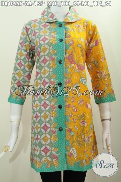 Jual Batik Dress Modern Kombinasi Dua Motif Berpadu Kerah Bulet Nan Mewah, Baju Batik Printing Warna Cerah Kwalitas Halus Nyaman Di Pakai, Size M – L