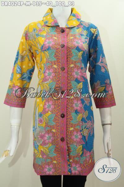 Jual Baju Batik dua Motif Trend 2015, Pakaian Dress Mewah Harga Murah Proses Printing, Busana Batik Kerah Bulet Untuk Kerja Dan Kondangan, Size M