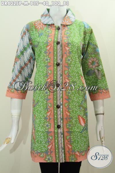 Dress Modern Berbahan Batik Printing Halus Kombinasi Dua Motif, Busana Batik Elegan Klasik Model Kerah Bulat Untuk Tampil Lebih Gaya Mempesona, Size M