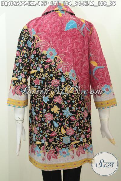 Pakaian Batik Solo Buat Wanita Dewasa, Busana Batik Printing Kombinasi Dua Motif Berpadu Kerah Bulat Bikin Penampilan Makin Trendy [DR4026P-XL]