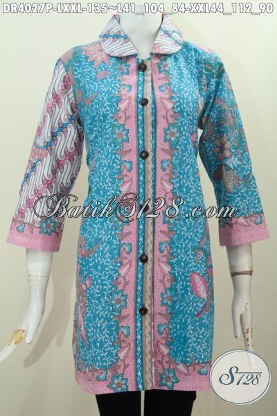 Baju Dress Batik Perempuan Dewasa Untuk Seragam Kerja Dan Busana Ke Pesta, Produk Batik Masa Kini Model Kerah Bulat Berpadu Dua Motif Spesial Tampil Lebih Berkelas, Size L – XXL