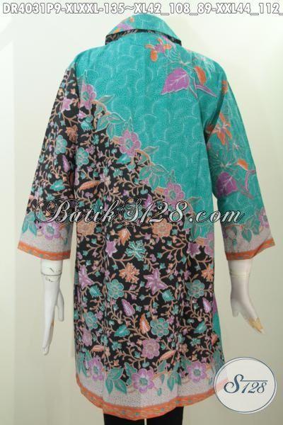 Dress Batik Untuk Kerja Kantoran, Baju Batik Trendy Dua Motif Printing Desain Kerah Bulat Lebih Elegan Dan Mewah, Size XL – XXL