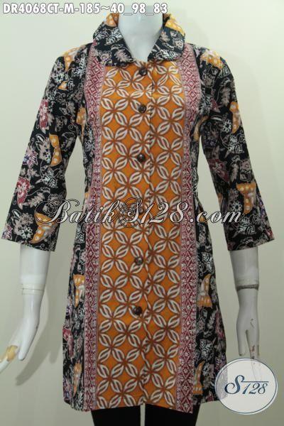Pakaian Batik Cewek Karir, Seragam Kerja Batik Model Dress Kerah Bulat Kwalitas Mewah Proses Cap Tulis, Size M