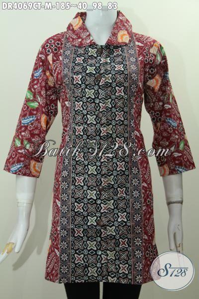 Jual Batik Dress Modern Buatan Solo Ukuran M, Cocok Buat Santai Dan Seragam Kerja, Batik Cap Tulis Model Kerah Bulat Tampil Makin Modis