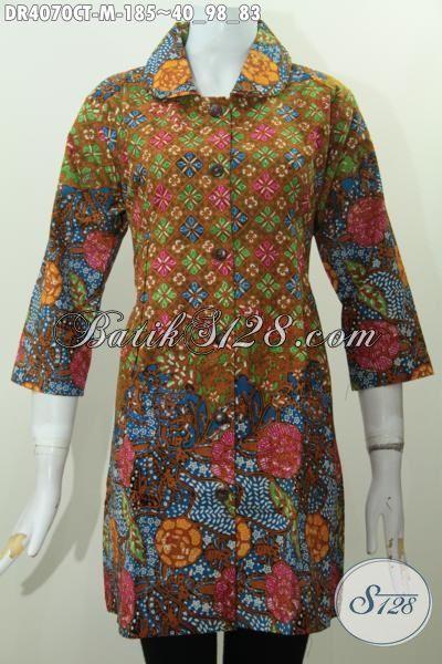 Jual Baju Batik Dress Kerah Bulat Motif Terbaru Yang Lebih Fashionable, Busana Batik Wanita Modern Karir Aktif Tampil Lebih Mempesona, Size M