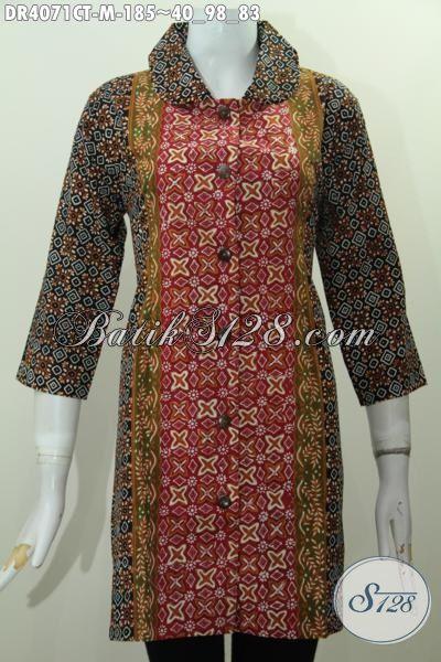 Jual Batik Wanita Model Dress Kerah Bulat, Pakaian Batik Modern Yang Fashionable Buat Kerja Dan Jalan-Jalan, Motif Proses Cap Tulis Kwalitas Premium [DR4071CT-M]
