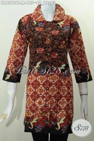 Tempat Update Fashion Batik Kerja Terlengkap, Jual Online Dress Batik Kerah Bulat Motif Kombinasi Proses Cap Tulis Tampli Trendy Dan Elegan Setiap Hari [DR4072CT-M]