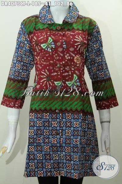 Busana Batik Modis Ukuran L, Baju Dress Batik Cap Tulis Istimewa Kwalitas Bagus Desain Mewah Tampil Makin Cantik