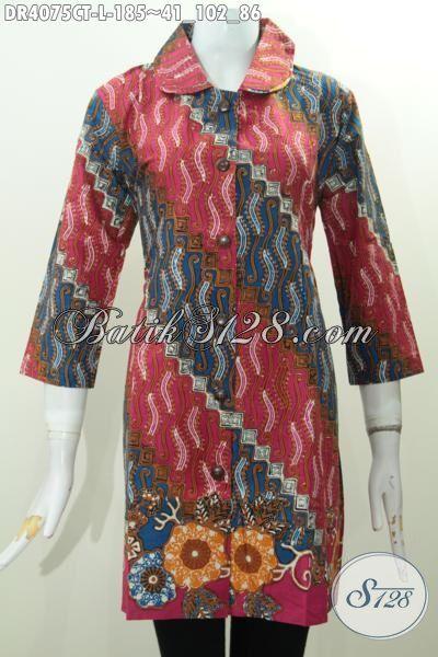 Dress Batik Motif Parang Dengan Warna Keren, Baju Batik Masa Kini Proses Cap Tulis Modis Untuk Kondangan, Size L