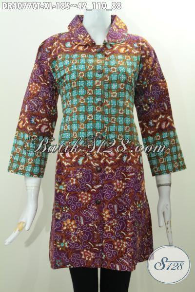 Busana Batik Perempuan Kerah Bulat Dengan Kombinasi 2 Motif Cap Tulis Kwalitas Bagus Harga Terjangkau, Size XL