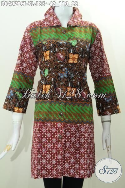 Jual Dress Batik Tiga Motif Model Kerah Bulat, Baju Batik Berkelas Bahan Halus Cap Tulis Asli Buatan Solo, Size XL