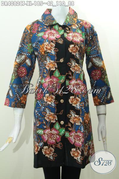 Pakaian Batik Wanita Dewasa Motif Bunga Proses Cap Tulis, Baju Batik Kerah Bulat Desain Mewah Bikin Penampilan Makin Cetar Membahana, Size XL