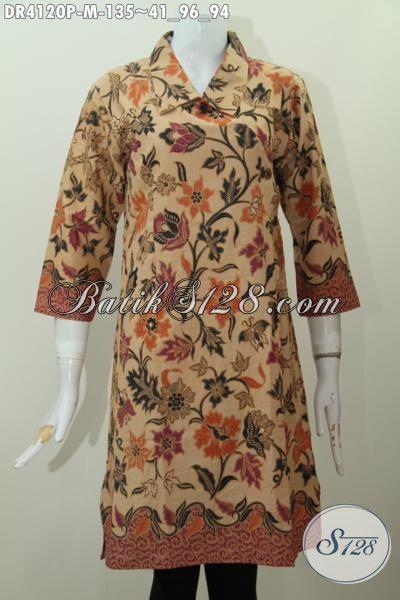 Dress Batik Elegan Motif Bunga Model Kerah Miring, Baju Batik Printing Solo Halus Model Terbaru Tampil Gaya Dan Anggun, Size M