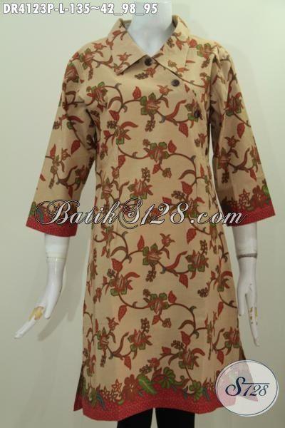 Batik Dress Berkelas Proses Printing Motif Bunga Warna Coklat, Pakaian Kerja Wanita Karir Untuk Terlihat Anggun Mempesona, Size L