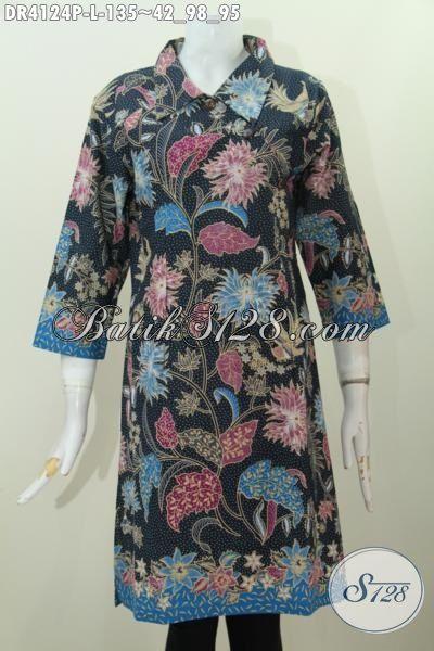 Baju Dress Bunga- Bunga Kwalitas Bagus Harga Terjangkau, Pakaian Batik Model Kancing Miring Bahan Halus Dan Adem Nyaman Dan Trendy Di Pakai Jalan-Jalan [DR4124P-L]