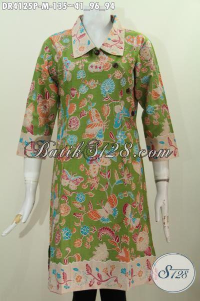 Sedia Busana Batik Motif Kupu Dan Bunga Proses Printing Bahan Halus Kwalitas Istimewa, Bisa Buat Santai Dan Resmi, Size L