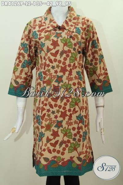 Jual Online Dress Batik Kancing Miring Berbahan Halus Motif Bunga Proses Printing, Modis Dan Elegan Buat Kerja