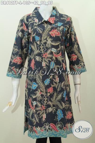 Baju Dress Batik Hitam Motif Bunga Desain Mewah Kancing Miring, Busana Batik Size L Kwalitas Istimewa Harga Terjangkau