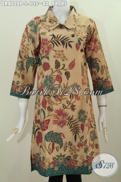 Dress Batik Kancing Miring Warna Elegan Motif Bunga, Berbahan Halus Dan Adem Pilihan Tepat Untuk Tampil Nyaman Dan Menawan [DR4128P-L]