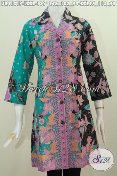 Busana Dress Motif Bunga Dan Kupu Berbahan Halus Dan Adem Proses Printing, Baju Kerja Batik  Trend Mode Terkini Untuk Tampil Lebih Anggun, Size L