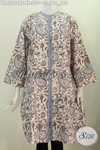 Batik Dress Modis Kwalitas Premium Bahan Halus Dan Mewah, Pakaian Batik Model Terkini Dengan Daleman Full Furing Membuat Perempuan Terlihat Mempesona, Size XL