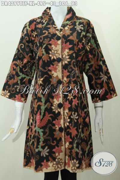Baju Dress Mewah Halus Daleman Pake Tricot, Baju Batik Premium Tulis Soga Pas Banget Untuk Acara Formal Harga 400 Ribuan, Size XL