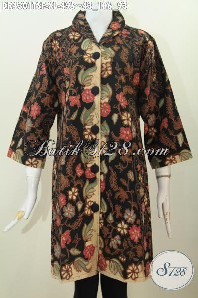 Baju Dress Mewah Motif Klasik Proses Tulis Soga, Busana Batik Premium Buatan Solo Berkelas, Cocok Untuk Seragam Kerja Dan Pesta, Size XL
