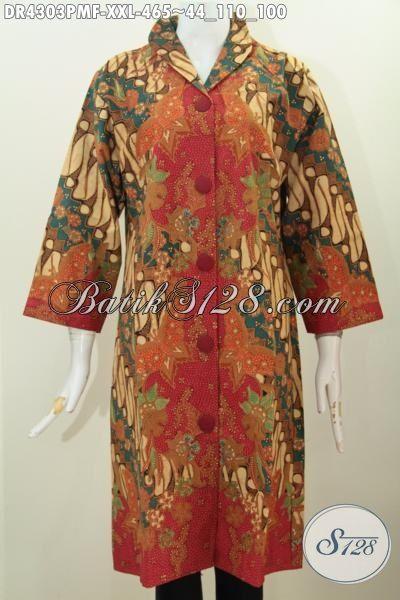 Baju Batik Klasik Dress Kerah Langsung Kombinasi Tulis
