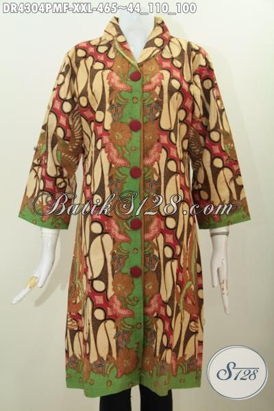 Pakaian Batik Mewah Desain Dress Kerah Langsung, Baju Batik Premium Daleman Tricot Buatan Solo Proses Kombinasi Tulis Edisi Spesial Untuk Wanita Gemuk, Size XXL