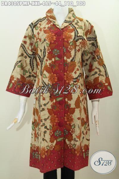 Baju Dress Premium 400 Ribuan, Pakaian Batik Halus Kombinasi Tulis Motif Klasik Model Kerah Langsung Untuk Kerja Dan Acara Formal, Size XXL