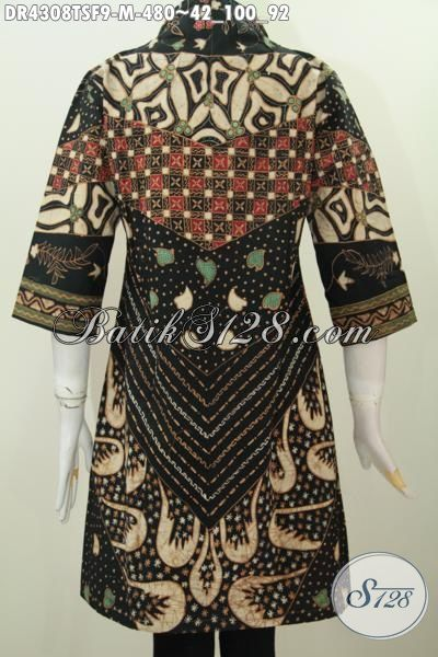 Produk Baju Batik Premium Tulis Soga, Busana Batik Elegan Desain Kerah Langsung Kesukaan Wanita Karir, Cocok Buat Ke Kantor Dan Rapat, Size M