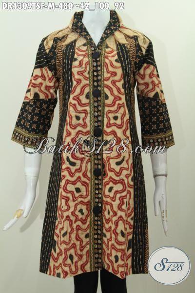 Baju Dress Batik Premium Desain Mewah Proses Tulis Pewarna Soga, Pakaian Batik Formal Wanita Muda Motif Klasik Tampil Elegan Berkelas Daleman Pake Tricot, Size M