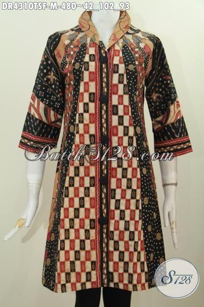 Pakaian Batik Premium Buatan Solo Di Jual Online, Baju Dress Batik Mewah Motif Klasik Mewah Full Furing Tricot Nyaman Di Pakaian, Baju Batik Etnik Tulis Soga Kesukaan Executive, Size M