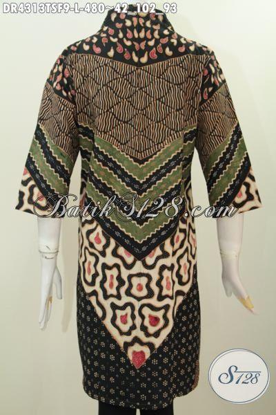 Dress Batik Istimewa Motif Klasik Khas Jawa Tengah, Baju Batik Premium Daleman Pake Tricot Pas Banget Untuk Acara Formal [DR4313TSF-L]