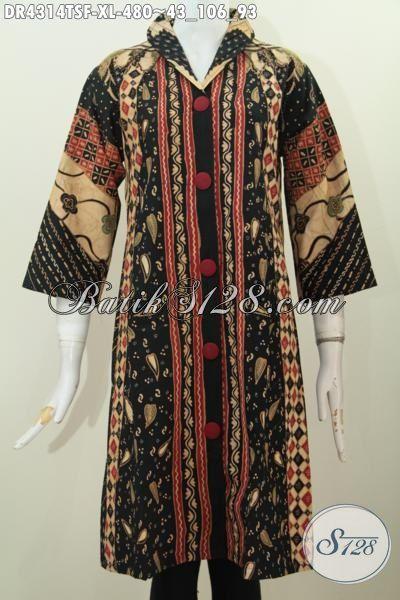 Baju Dress Elegan Kwalitas Premium, Baju Batik Formal Wanita Dewasa Karir Aktif, Produk Busana Batik Klasik Proses Tulis Soga Harga 480K, Size XL