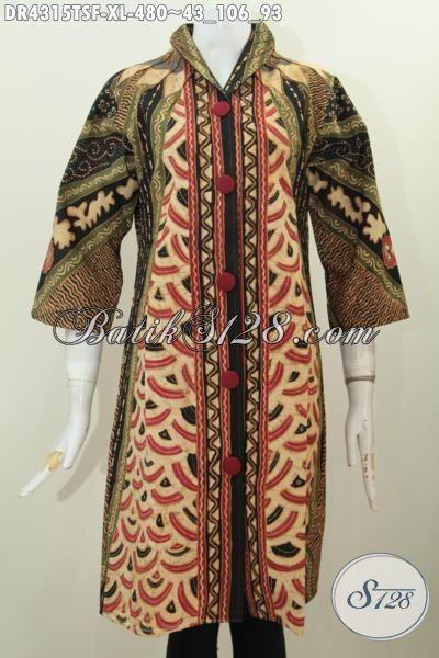 Busana Batik Dress Mewah Halus Motif Klasik, Pakaian Batik Wanita Dewasa Tulis Soga Size XL Desain Kerah Langsung Cocok Untuk Acara Formal
