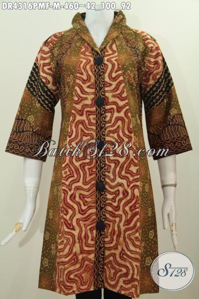 Jual Produk Baju Dress Batik Premium Proses Kombinasi Tulis, Baju Batik Seragam Kerja Wanita Karir Desain Formal Lebih Mewah Dan Berkelas Dengan Daleman Tricot [DR4316PMF-M]