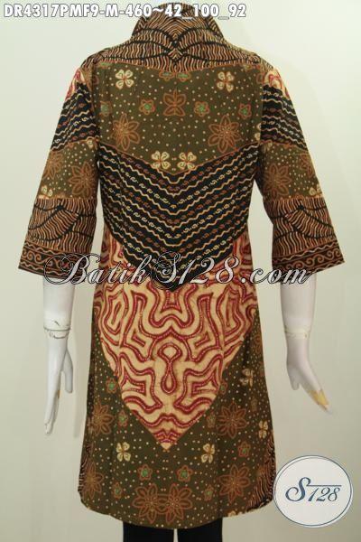 Sedia Baju Batik Dress Klasik Premium Proses Kombinasi Tulis, Baju Batik Fomal Elegan Kerah Langsung Kesukaan Para Pegawai Kantoran, Size M
